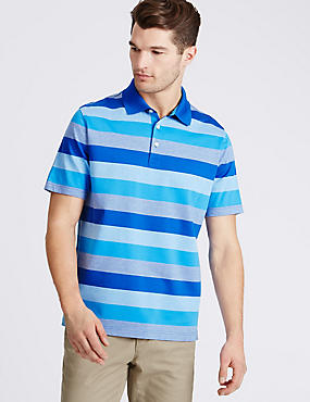Pure Cotton Striped Polo Shirt, TURQUOISE MIX, catlanding