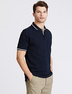 Pure Cotton Textured Polo Shirt, NAVY, catlanding
