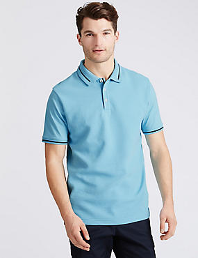 Pure Cotton Textured Polo Shirt, MINT, catlanding