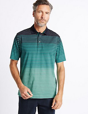 Pure Cotton Striped Polo Shirt, GREEN MIX, catlanding