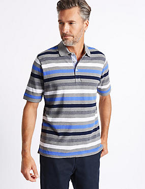 Regular Fit Pure Cotton Striped Polo Shirt , NAVY MIX, catlanding