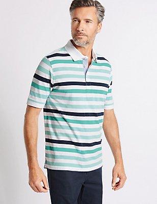Big & Tall Pure Cotton Striped Polo Shirt, WHITE MIX, catlanding
