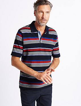 Pure Cotton Striped Polo Shirt, RED MIX, catlanding
