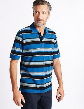 Pure Cotton Striped Polo Shirt, BLUE MIX, catlanding