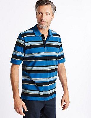 Big & Tall Pure Cotton Striped Polo Shirt, BLUE MIX, catlanding