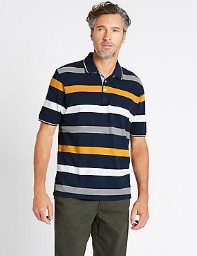 Pure Cotton Striped Polo Shirt, NAVY MIX, catlanding