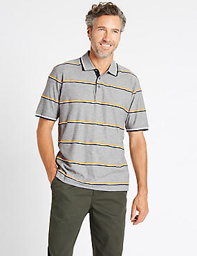 Pure Cotton Striped Polo Shirt, GREY MIX, catlanding