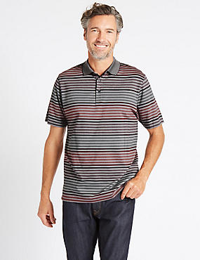 Pure Cotton Striped Polo Shirt, CRANBERRY, catlanding