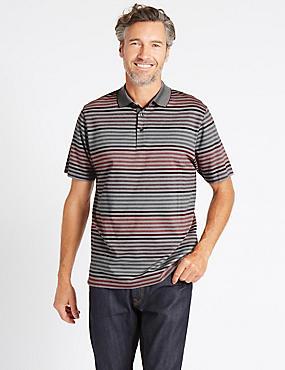 Pure Cotton Striped Polo Shirt, CRANBERRY, catlanding