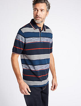 Pure Cotton Striped Polo Shirt, NAVY MIX, catlanding
