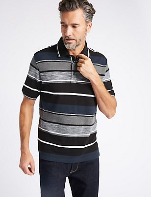 Pure Cotton Striped Polo Shirt, BLACK MIX, catlanding