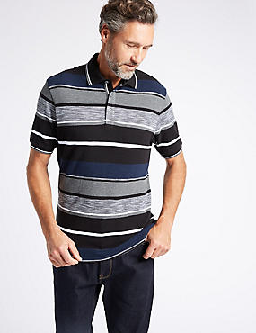 Slim Fit Pure Cotton Striped Polo Shirt, BLACK MIX, catlanding