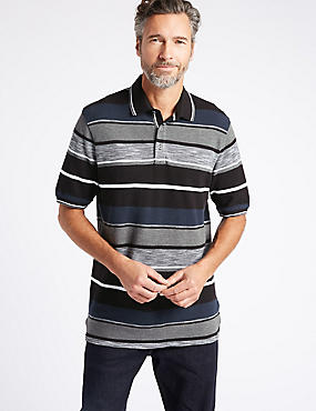 Pure Cotton Striped Polo Shirt, BLACK MIX, catlanding
