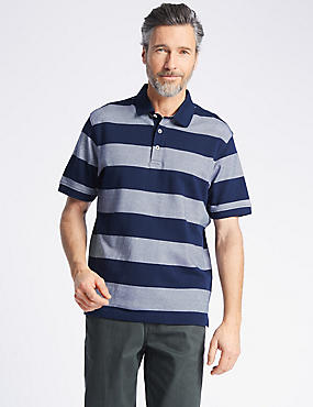 Pure Cotton Striped Polo Shirt, NAVY, catlanding