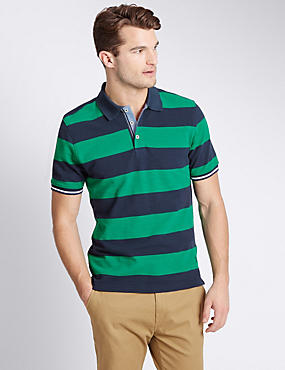 Pure Cotton Tailored Fit Striped Polo Shirt