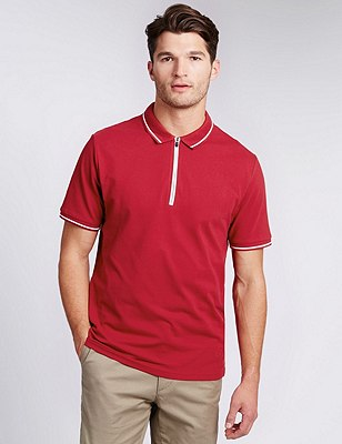 Cotton Rich Tailored Fit Half Zipped Polo Shirt, RED, catlanding