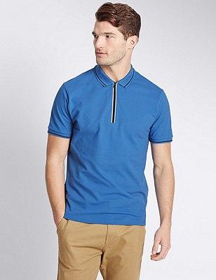 Cotton Rich Tailored Fit Half Zipped Polo Shirt, BLUE, catlanding