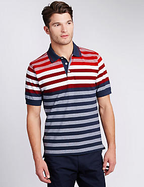Pure Cotton Engineered Striped Polo Shirt