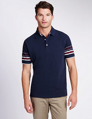 Pure Cotton Tailored Fit Polo Shirt, NAVY MIX, catlanding