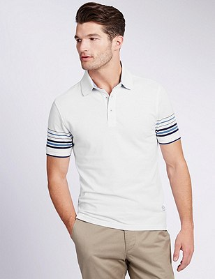 Pure Cotton Tailored Fit Polo Shirt, WHITE MIX, catlanding