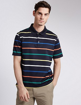 Pure Cotton Tailored Fit Mercerised Striped Polo Shirt, NAVY, catlanding