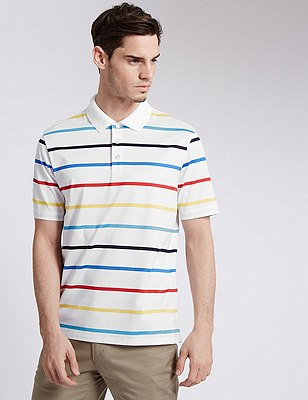 Pure Cotton Tailored Fit Mercerised Striped Polo Shirt, WHITE, catlanding