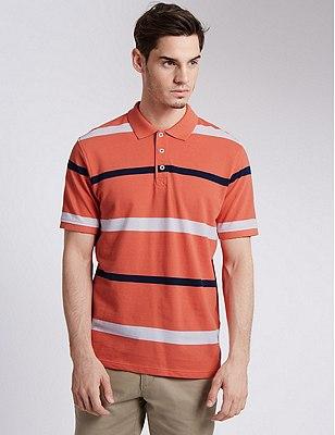 Pure Cotton Textured & Striped Polo Shirt, MANGO, catlanding