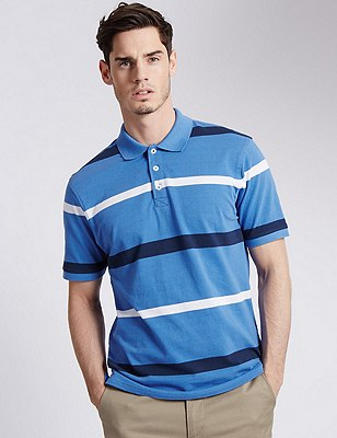 Pure Cotton Textured & Striped Polo Shirt, BLUE, catlanding