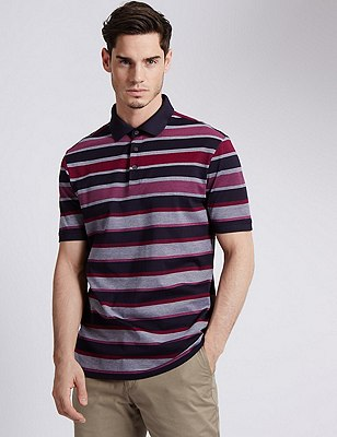 Pure Cotton Tailored Fit Mercerised Striped Polo Shirt, PINK, catlanding