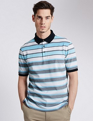 Pure Cotton Tailored Fit Mercerised Striped Polo Shirt, TURQUOISE, catlanding