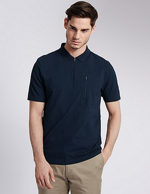 Cotton Rich Tailored Fit Half Zipped Polo Shirt, NAVY, catlanding