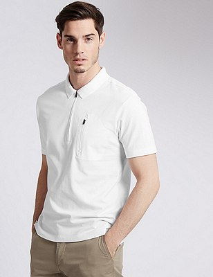 Cotton Rich Tailored Fit Half Zipped Polo Shirt, WHITE, catlanding
