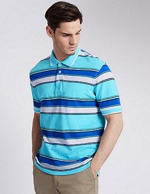 Pure Cotton Striped Polo Shirt, TURQUOISE MIX, catlanding