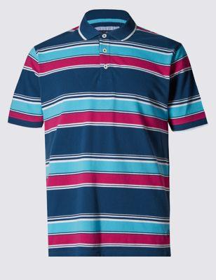 Приталенная рубашка-поло из чистого хлопка в яркую полоску