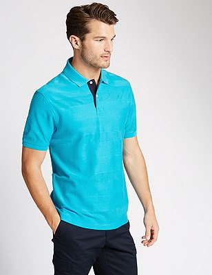 Pure Cotton Mercerised Polo Shirt, BRIGHT BLUE, catlanding