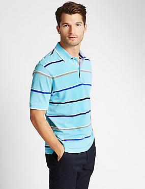 Pure Cotton Striped Polo Shirt, GREY MARL, catlanding
