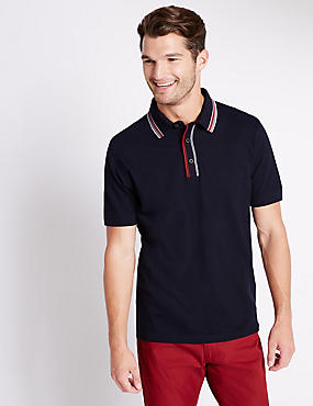 Cotton Rich Tailored Fit Polo Shirt, NAVY, catlanding