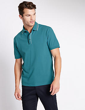Cotton Rich Tailored Fit Polo Shirt, TEAL, catlanding