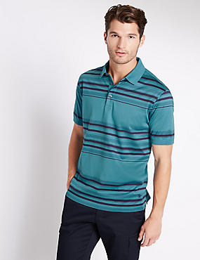 Pure Cotton Striped Polo Shirt, TEAL MIX, catlanding