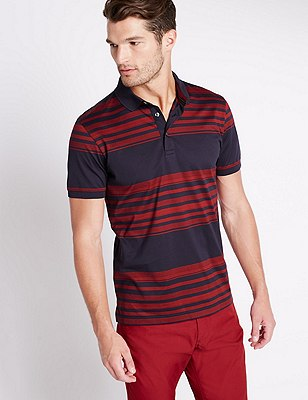 Slim Fit Mercerised Cotton Polo Shirt, RED MIX, catlanding