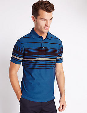 Pure Cotton Tailored Fit Striped Polo Shirt, INDIGO, catlanding