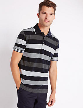 Pure Cotton Block Striped Polo Shirt, NAVY, catlanding