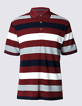 Pure Cotton Block Striped Polo Shirt, CLARET, catlanding