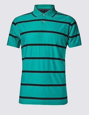 Pure Cotton Stripped Polo Shirt, JADE, catlanding