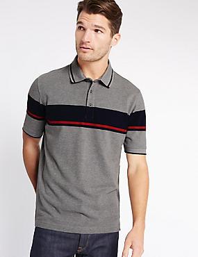 Pure Cotton Striped Polo Shirt, GREY MIX, catlanding