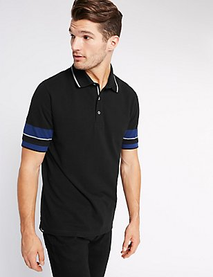 Pure Cotton Striped Polo Shirt , BLACK, catlanding