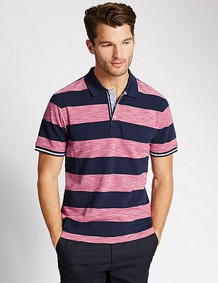 Pure Cotton Tailored Fit Striped Polo Shirt, RASPBERRY, catlanding