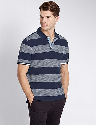Pure Cotton Tailored Fit Striped Polo Shirt, NAVY MIX, catlanding