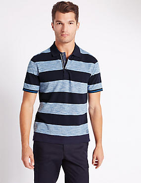 Pure Cotton Striped Polo Shirt, INDIGO MIX, catlanding