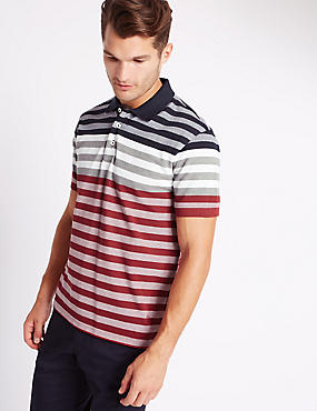 Tailored Fit Pure Cotton Striped Polo Shirt, RED MIX, catlanding
